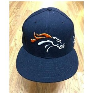 Other - Denver Bronco Ball Cap Hat Black Fitted Size 7 1/2